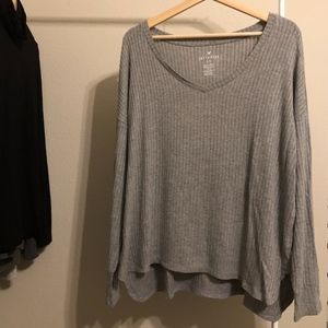 American Eagle Outfitters Gray V-Neck Sweater